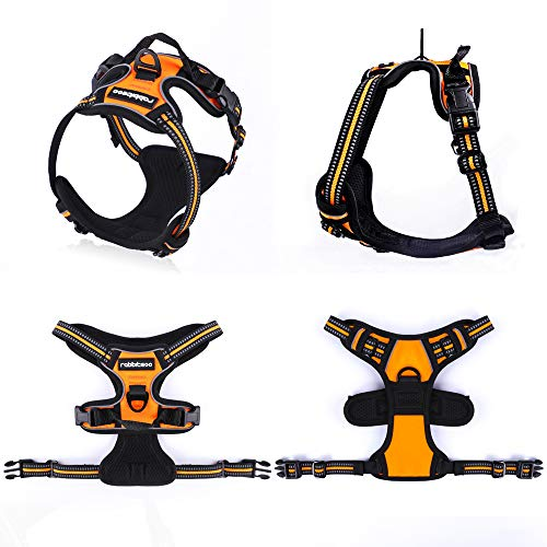 rabbitgoo Dog Harness No-Pull Pet Harness Adjustable Outdoor Pet Vest 3M Reflective Oxford Material Vest for Dogs Easy Control for Small Medium Large Dogs (Orange, XL)