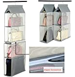 Detachable 6 Compartment Organizer Pouch Hanging Handbag Organizer Purse Bag Collection Storage Holder Wardrobe Closet Space Saving Organizers System For Living Room Bedroom Home Use (Grey)