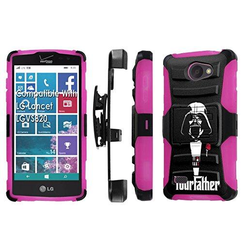 LG [Lancet] [Verizon] Armor Case [SlickCandy] [Black/ Hot Pink] Heavy Duty Defender [Holster] [Kick Stand] Phone Case - [Your Father] for LG Lancet [vw820]