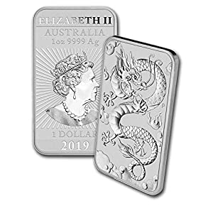 2019 – Present 1oz Silver Bar Australia Perth Mint Dragon Series Coin $1 Brilliant Uncirculated