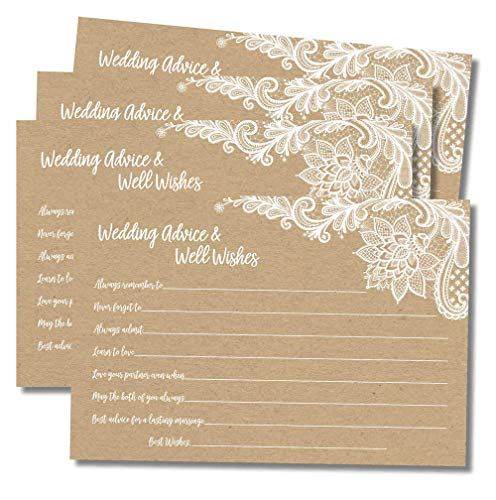 Book Wishes Well - 50 Wedding Advice and Well Wishes - Rustic Kraft Lace (50-Cards) Reception Wishing Guest Book Alternative, Bridal Shower Games Note Card Marriage Best Advice Bride to Be or for Mr & Mrs