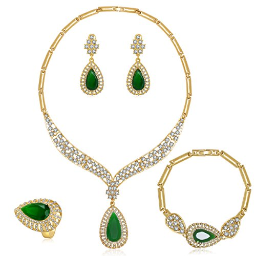 - Moochi 18K Gold Plated Green Beads Crystal Chain Necklace Earrings Ring Bracelet Jewelry Set