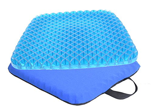 Gel Seat Cushion Pad for Wheelchair, Office Chair, Car, Breathable Honeycomb Chair Cushion Pad with Washable Cover for Pressure Reducing Sciatic Nerve Pain Blue (Chair Banquette)