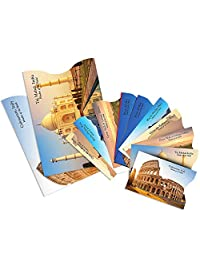 """12 Pack RFID Blocking Sleeves - Full Contactless Protection for Debit, Credit Cards, Passports, ID & Key Cards, Wallet - Identity Theft Protection Sleeves for Safe Travel -""""Wonders of the World"""""""