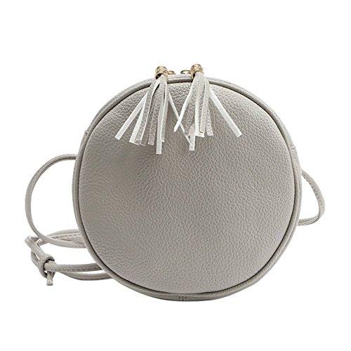 éclair à double Gris sac Badiya rond cuir Sac à pompons pendentif fermeture PU bandoulière mini en 6w4x7w8