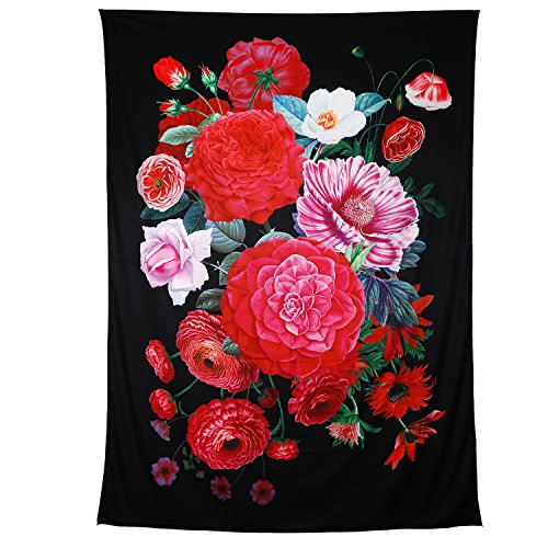Zeronal Retro Flower Tapestry Wall Hanging Red Rose Vintage Floral Blended into The Black Background Light-Weight Polyester Fabric Wall Decor 59