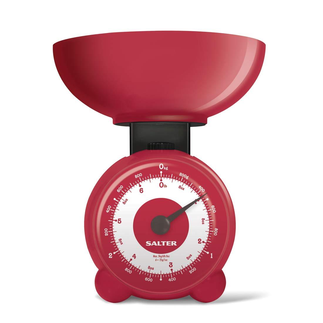 Salter Bilancia da Cucina Meccanica capacit/à 3Kg con Ciolota Lavabile in Lavastoviglie Rosso 3 kg