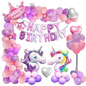 MMTX Anniversaire Licorne Fille Décorations de Fête Fournitures, 2 Géant Ballon Licorne, Joyeux Anniversaire Ballons…