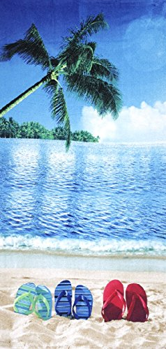 (JGR Copa Sunny Days Flip Flops Velour 30x60 Beach/Bath Towel)