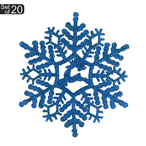 - KI Store 20ct Christmas Blue Snowflake Decoration Ornaments Glitter Decorative Hanging Ornaments for Christmas Décor Trees Window (Blue, 5.5-Inch)