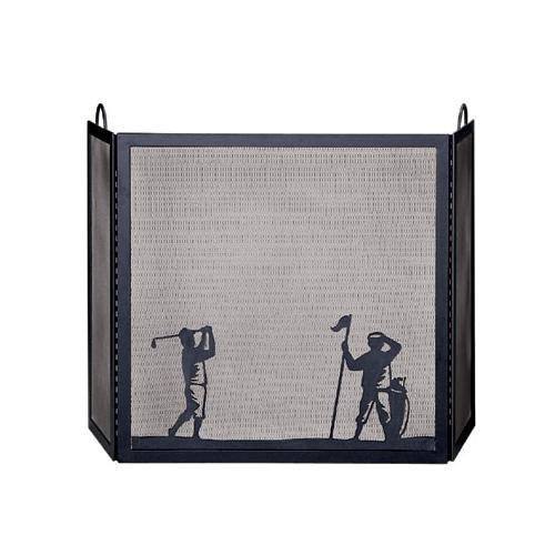 UniFlame 3 Fold Black Wrought Iron Screen W/ Golfer Scene