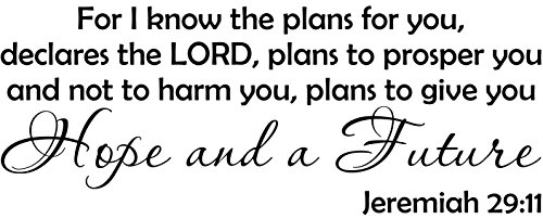 WallDecalQuote Jeremiah 29:11 For I Know The Plans For You Bible Verse Wall Decal