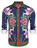 COOFANDY Mens Fashion Long Sleeve Luxury Print Shirts, Blue, Small