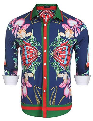 COOFANDY Mens Fashion Long Sleeve Luxury Print Shirts, Blue, Small by COOFANDY
