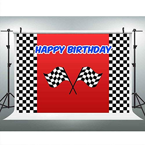 LUCKSTY Car Racing Themed Birthday Backdrops for Photography 9x6FT Racing Flag Black White Grid Red Photo Backgrounds Birthday Party Banner Photo Booth Props LULX024 -