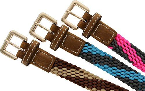Skinny Woven Braided Soft Fabric Comfort Stretch Casual Belt for Women (Red, Small)