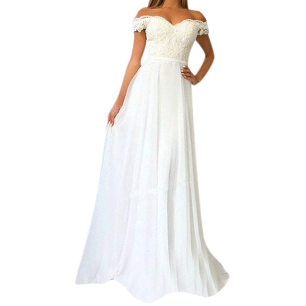Women Off Shoulder Lace Wedding Maxi Dress Formal Cocktail Evening Party Mermaid Gown Flowy Long Dresses (Small, White)