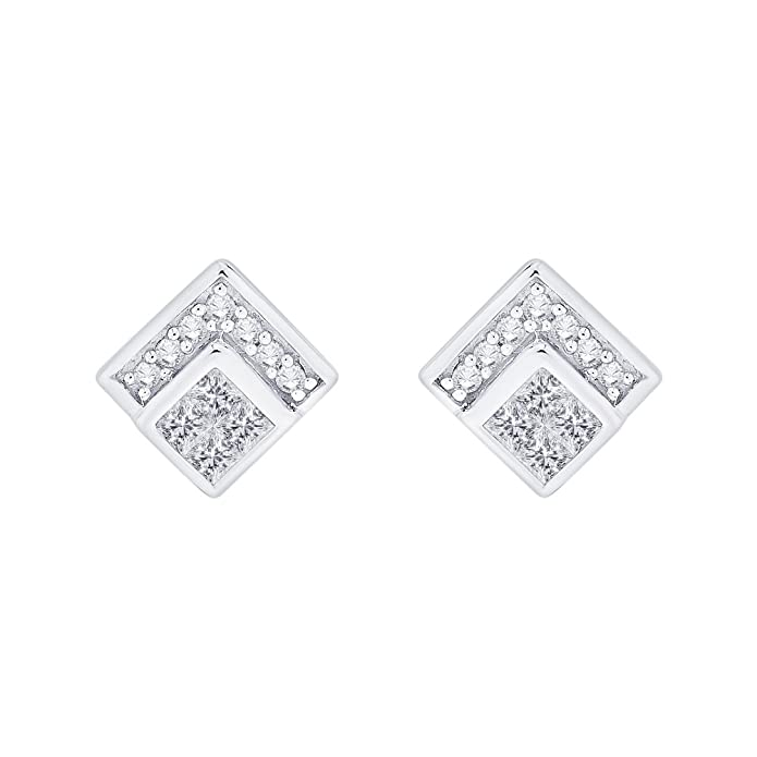 4892b8e75 KATARINA Prong Set Round and Princess Cut Diamond Stud Earrings in Gold or  Silver (1/2 cttw, G-H, VS2-SI1)