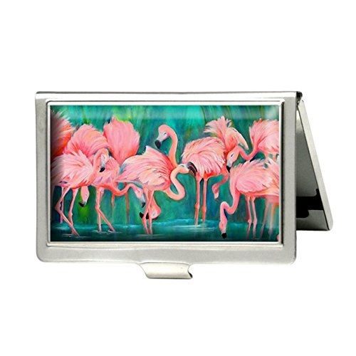 - Pink Flamingo Custom Business Bank Name Card Case Holder Silver Box Pocket Credit Card ID Wallet