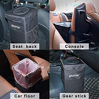 ERAYAK Trash Can for Car with Lid and Storage Pockets Collapsible Cars Garbage Container Bag Accessories Interior: Automotive