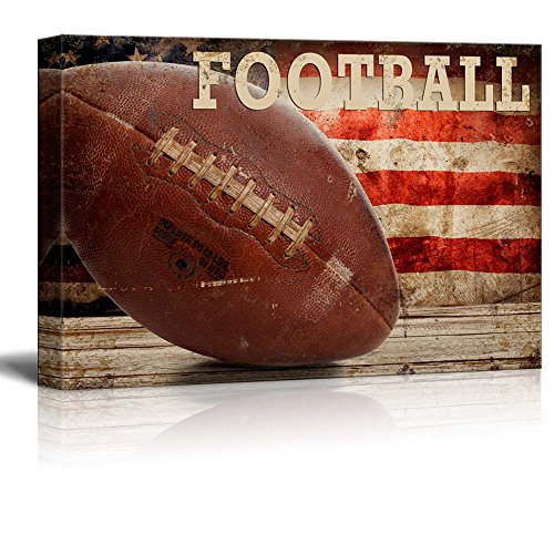 wall26 - Football Americana - Patriotic Pigskin Sport Grunge Flag - Canvas Art Home Decor - 16x24 inches