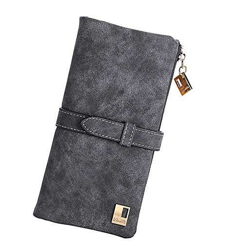 Big Sale - 60% Off - Woolala Womens Vintage Style Wallet Bifold Nubuck Drawstring Clutch Long Purse, Grey
