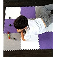 Interlocking Foam EVA Mat Carpet Flooring by Homeneeds (9 Piece, Purple, White and Grey Carpet)
