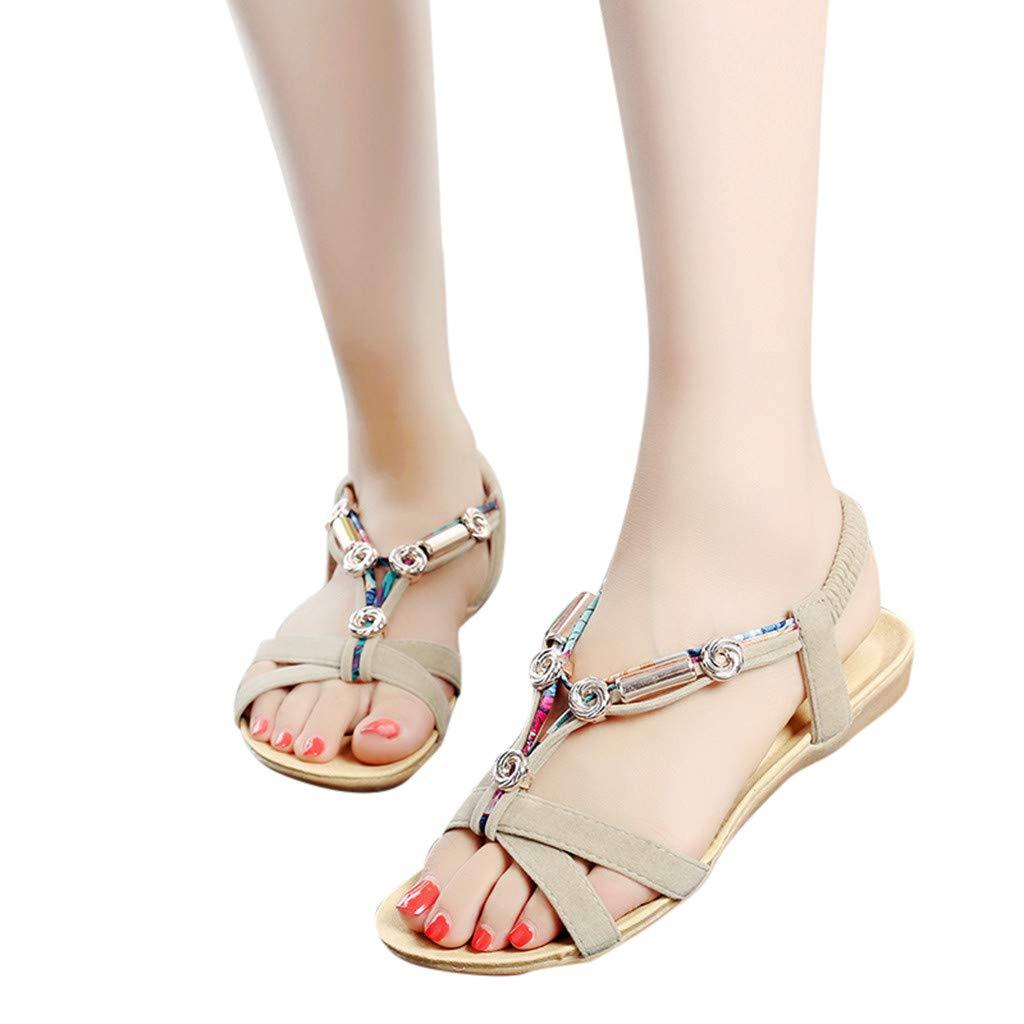 2019 New Women's Fashion Solid Elastic Belt Shoes Bohemian Metal Shoes Roman Sandals (Beige, 5.5 M US)