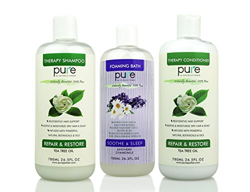Salon Spa Kit Gift Set - Natural Bath Set Including Oversized Tea Tree Shampoo and Conditioner PLUS Lavender Bubble Bath ()