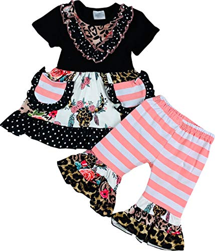 Boutique Baby Girls Spring Easter Summer Time Cow Capri Playwear Set Black/Floral -