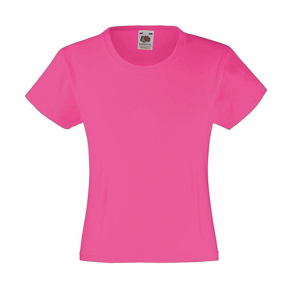 Fruit Of The Loom Girls Valueweight T-Shirt Fuchsia 5-6 Years