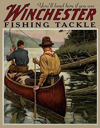 Winchester Fishing Tackle Tin Sign 13 x 16in ()