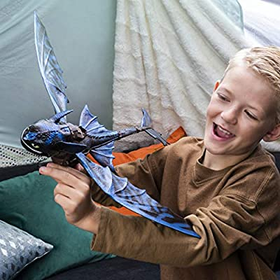 Dreamworks Dragons, Giant Fire Breathing Toothless, 20-inch Dragon with Fire Breathing Effects and Bioluminescent Color, for Kids Aged 4 and Up: Toys & Games