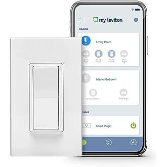 #7 Leviton DW15S-1BZ Decora Smart Wi-Fi 15A Universal LED/Incandescent Switch,