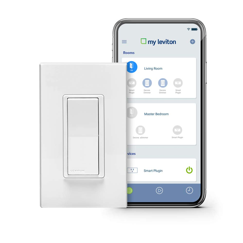Leviton DW15S-1BZ Decora Smart Wi-Fi 15A Universal LED/Incandescent Switch, Works with Amazon Alexa, No Hub Required by Leviton