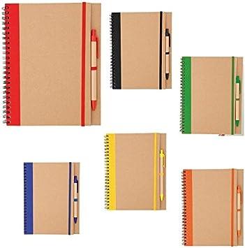 Lote de 20 Libretas Bloc de Notas Cartón Reciclado 100% Kraft con Bolígrafo Incluido - 60 Hojas - Libretas, libretitas originales y baratas, handmade, kraft baratas para Detalles, Recuerdos de Bodas