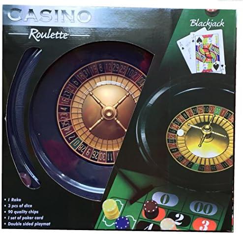 Black Jack und Roulette Box Set – Großes Rad, volle Breite Chips – Tolles Set