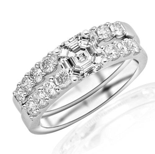 Asscher Cut Diamond Wedding Band - 14K Yellow Gold 1.53 CTW Classic Prong Set Bridal Set With Wedding Band and Diamond Engagement Ring w/ 0.52 Ct Asscher Cut F Color VVS2 Clarity Center