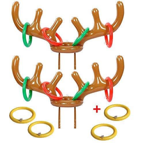 eboozone Inflatable Reindeer Antler Toss Game 2 Sets, Christmas Game, 2 Antlers 12 Rings -