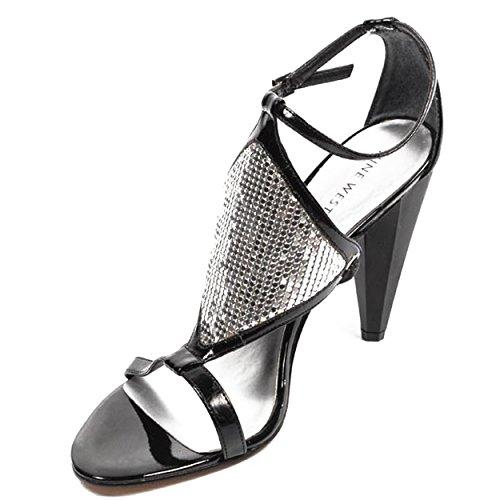 NINE WEST - Damen Knöchelriemen Sandale NWDONTLIE BLK SILVER Hacke: 9.5 cm