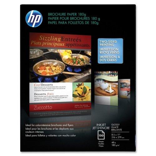Wholesale CASE of 5 - HP Glossy Brochure Inkjet Paper-Brochure Inkjet Paper,48lb,8-1/2''x11'',98GE/100 ISO,150/PK,WE