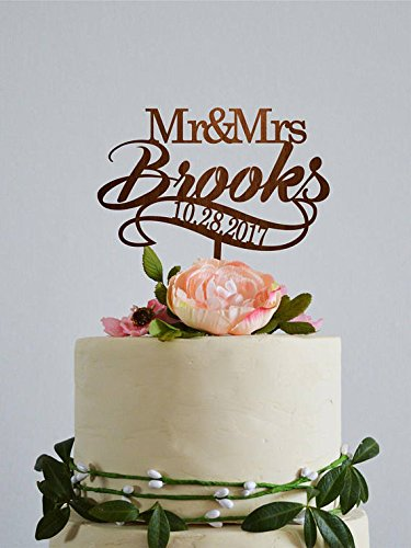 Wedding Cake Toppers Mr And Mrs Personalised Last Name And Date