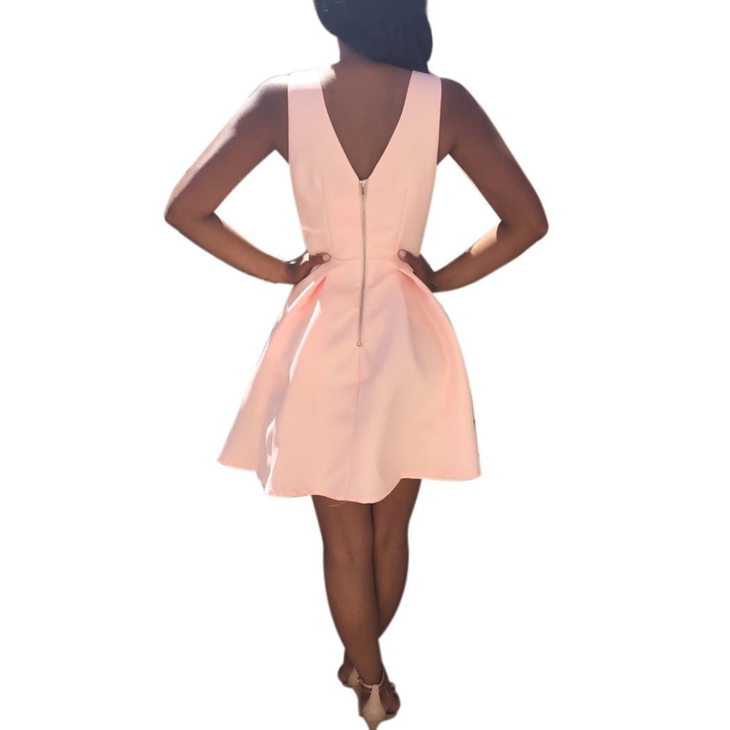 Yesmile Vestido de Mujer Falda Negro Vestido Elegante de Noche para Boda Fista Vacaciones Vestido de Cóctel de Verano con Cuello en V Sin Mangas para Mujer: ...