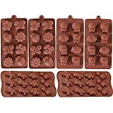 6 Pack Silicone Baking Molds, Dinosaur Mold Forest Theme Animal Mould with Shape of Dinosaur,Bear,Lion,Bee,Butterfly Etc, Food Grade Kid Molds for Cake Candy Chocolate Jelly Ice Cube Small Soap Making