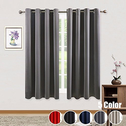WINYY Solid Color Blackout Curtains Panels Grommet Top Indoor Outdoor Thermal Insulated Drapes Various Width and Length Window Treatments Color Beige/Dark Grey/Navy/Black/Red,1 Panel W39 x H47 inch