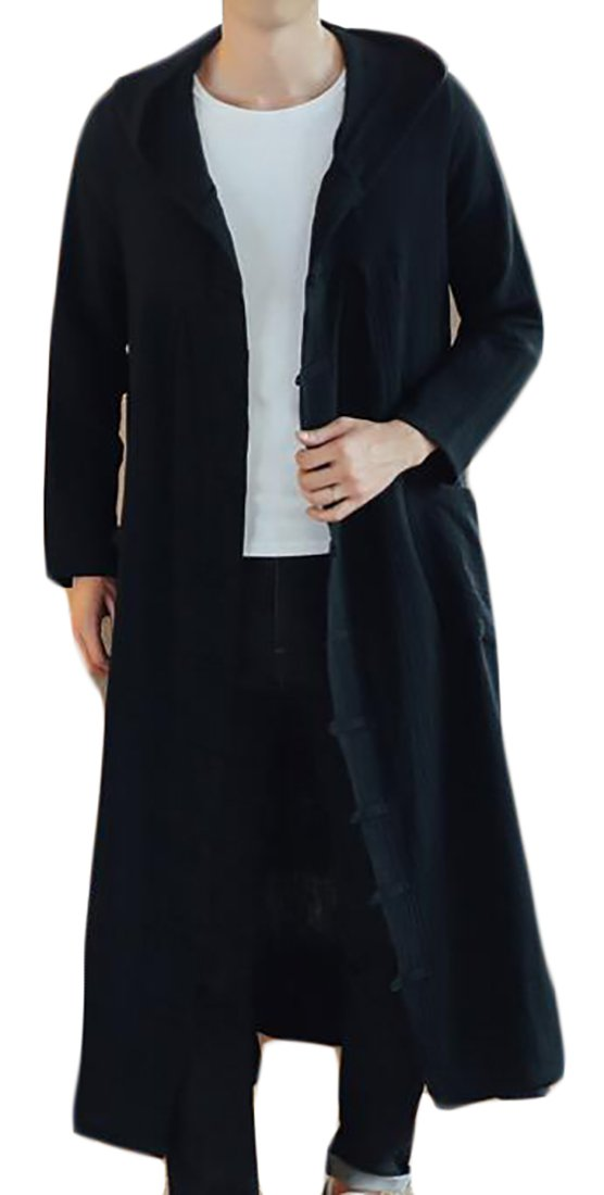 Beloved Men Retro Long Sleeve Chinese Kung Fu Plus Size Cotton Solid Long Jacket Black XXXL