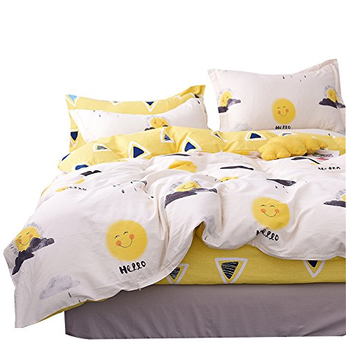 OTOB Cartoon Yellow Smile Sun Print Duvet Cover Twin Bed Set Cotton 100 for Kids,Reversible Children Bedding Sets 3 Piece Boys Girls with 1 Comforer Cover 2 Pillowcases Cute Triangles ()