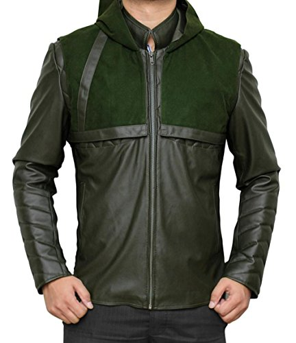 Stephen Amell Green Hooded Synthetic Leather Jacket XS (Green Arrow Suit)