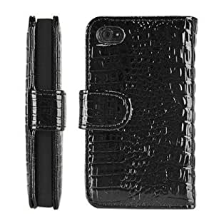 Bloutina Importer520 (TM) Wallet Case PU Leather Holder Cover Pouch For iPhone 4 4S - Crocodile Black