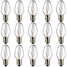 Scentsy Bulb, 15 Pack Light Bulbs for Plug-in Nightlight Warmer Wax Diffuser & Candle Warmers, E12 Candelabra Base Long Life Incandescent Bulbs, 120 Volt - Dimmable - Warm White - C7 Shape (15)